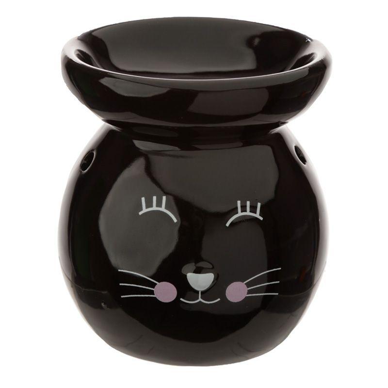 Eden Ceramic Cat Face Oil Burner - Black