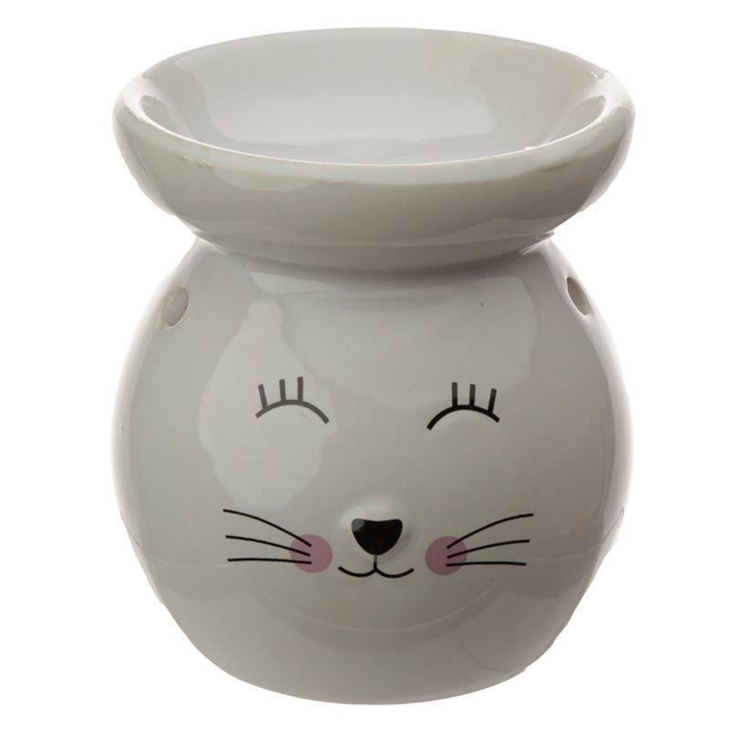 Eden Ceramic Cat Face Oil Burner - White