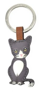 Mala Leather Best Friends Sitting Keyring - Black & White Cat