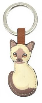 Mala Leather Best Friends Sitting Keyring - Siamese Cat