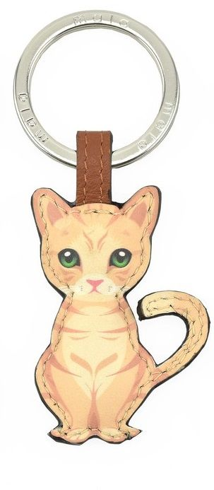 Mala Leather Best Friends Sitting Keyring - Ginger Cat