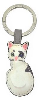 Mala Leather Best Friends Sitting Keyring V2- Black & White Cat