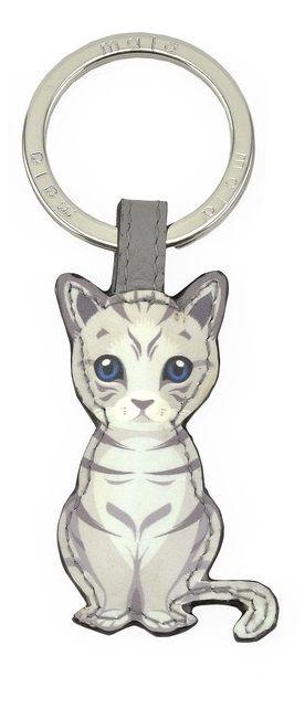 Mala Leather Best Friends Sitting Keyring - Silver Tabby Cat