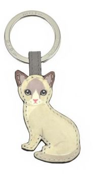 Mala Leather Best Friends Sitting Keyring V2- Siamese