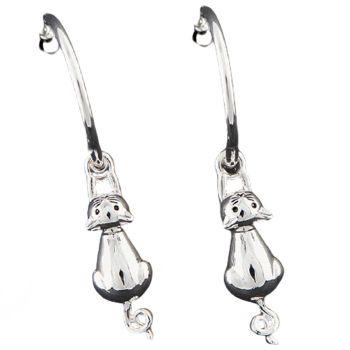 Hanging Cat Silver Plated Earrings