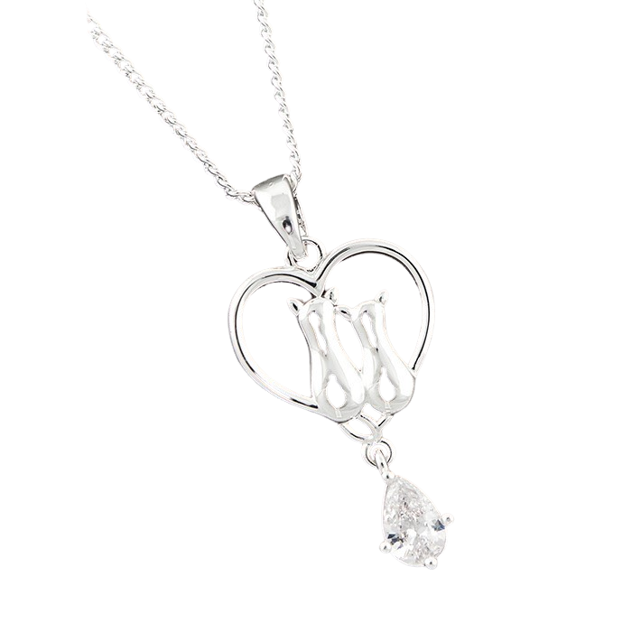 Cats In Heart CZ Drop Necklace