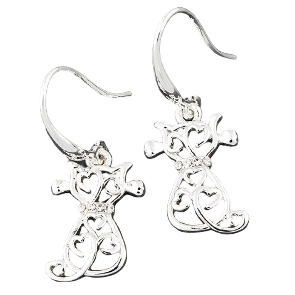 Silver Plated Filigree Cat Earrings