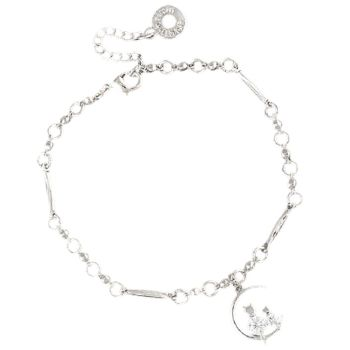 Cats on Moon White Gold Plated Bracelet