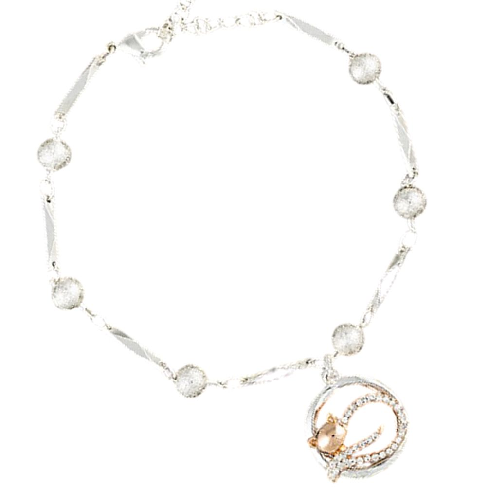 Lazy Cat Two Tone Bracelet Silver/Rose Gold Plated
