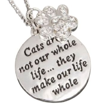 Equilibrium Silver Plated - Cats Are Not Our Whole Life, But They Make Our Life Whole- Necklace - Gift Boxed WAS £14.99