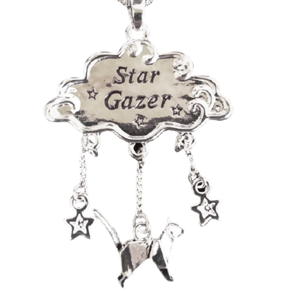 Star Gazer Silver Plated Cat & Cloud Necklace