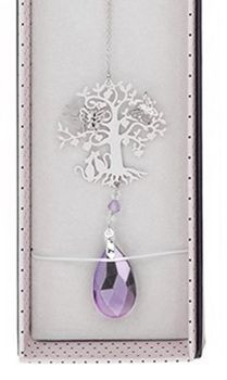 Cat Suncatcher - 3D Crystal Suncatcher - Cat, Tree & Butterfly - Lilac