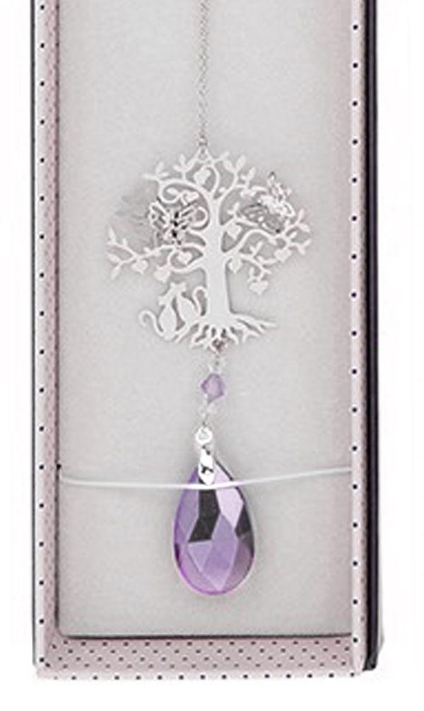 Cat Suncatcher - 3D Crystal Suncatcher - Cat, Tree & Butterfly - Lilac