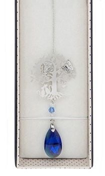 Cat Suncatcher - 3D Crystal Suncatcher - Cat, Tree & Butterfly - Blue
