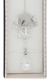 Cat Suncatcher - 3D Crystal Suncatcher - Cat, Tree & Butterfly  - Clear
