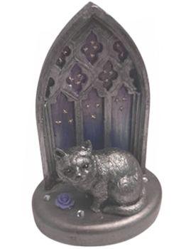 Cat, Purple Rose & Gems In Gothic Window