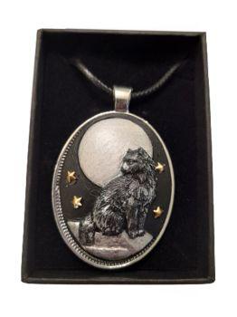 Stonecast Cat & Moon Cameo Necklace - CAM07
