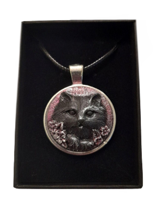 Stonecast Cat Cameo Necklace - CAM08