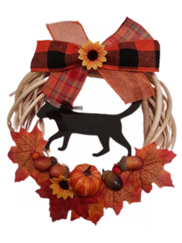 Willow Wreath Black Cat & Pumpkin