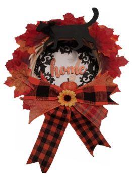 Willow Wreath Black Cat & Pumpkin-Home