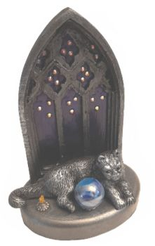 Cat, Crystal Ball & Candle In Gothic Window