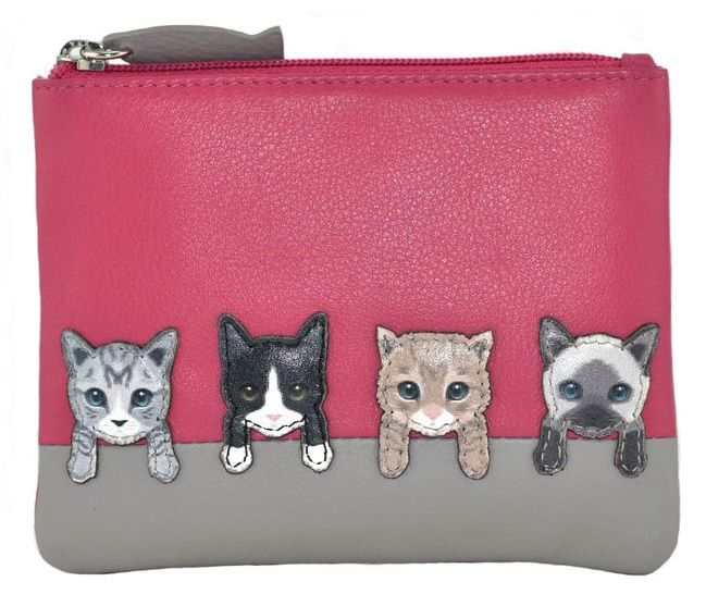 Best Friends Cats On Wall Coin & Card Purse - Pink
