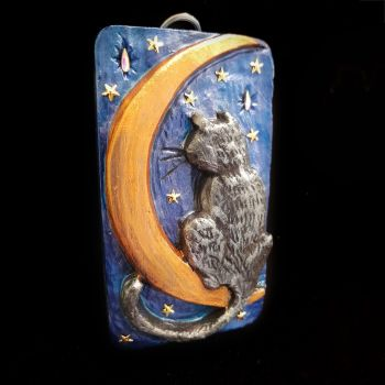 Cat on Moon Small Wall Plaque