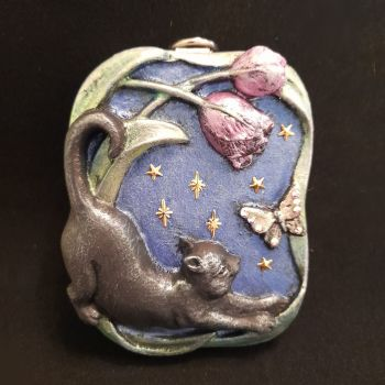 Cat, Butterfly & Tulips Stone Plaque