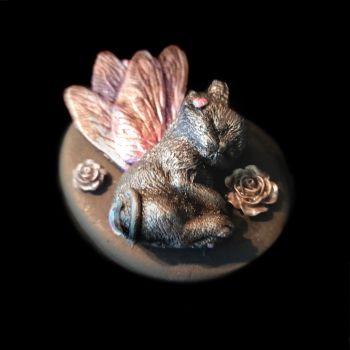 Purrfect Pebbles - Sleeping Dragonfly Kitten, Moon & Roses - CMD-012