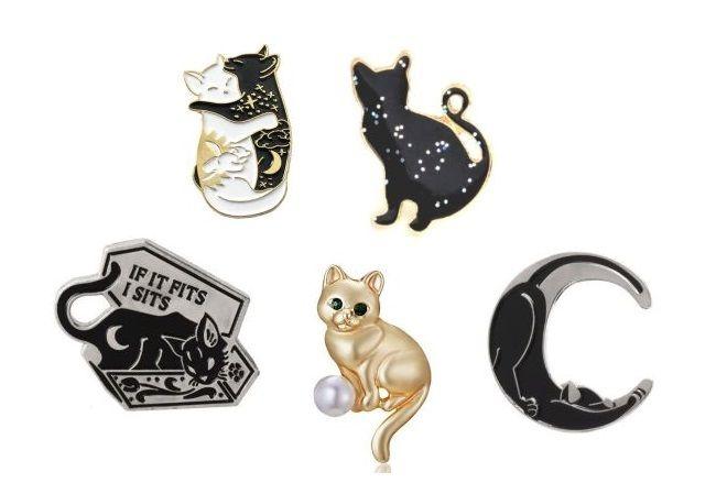 Set Of 5 Cat Pin Badges (Set 3)