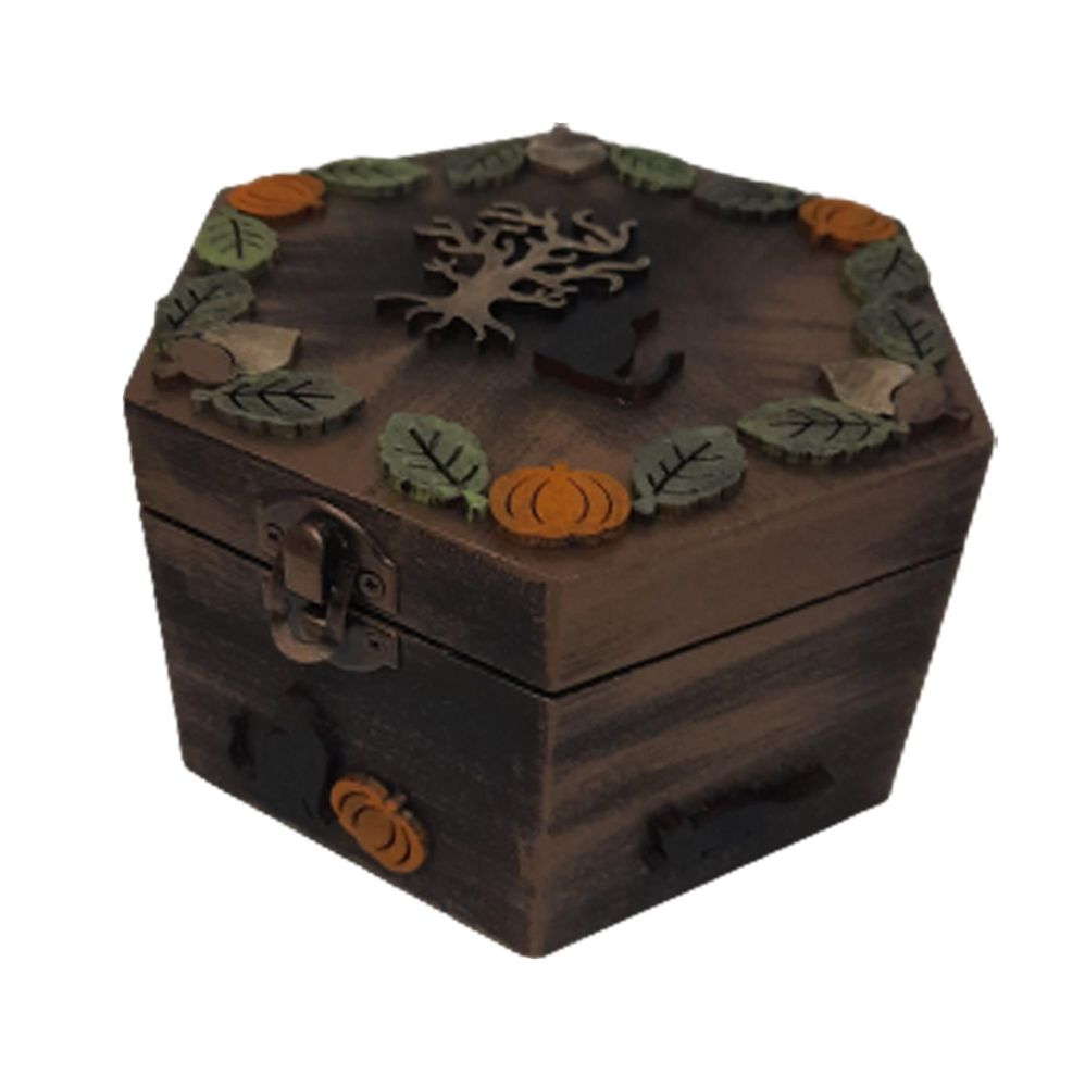 Black Cat Autumn Wooden Box