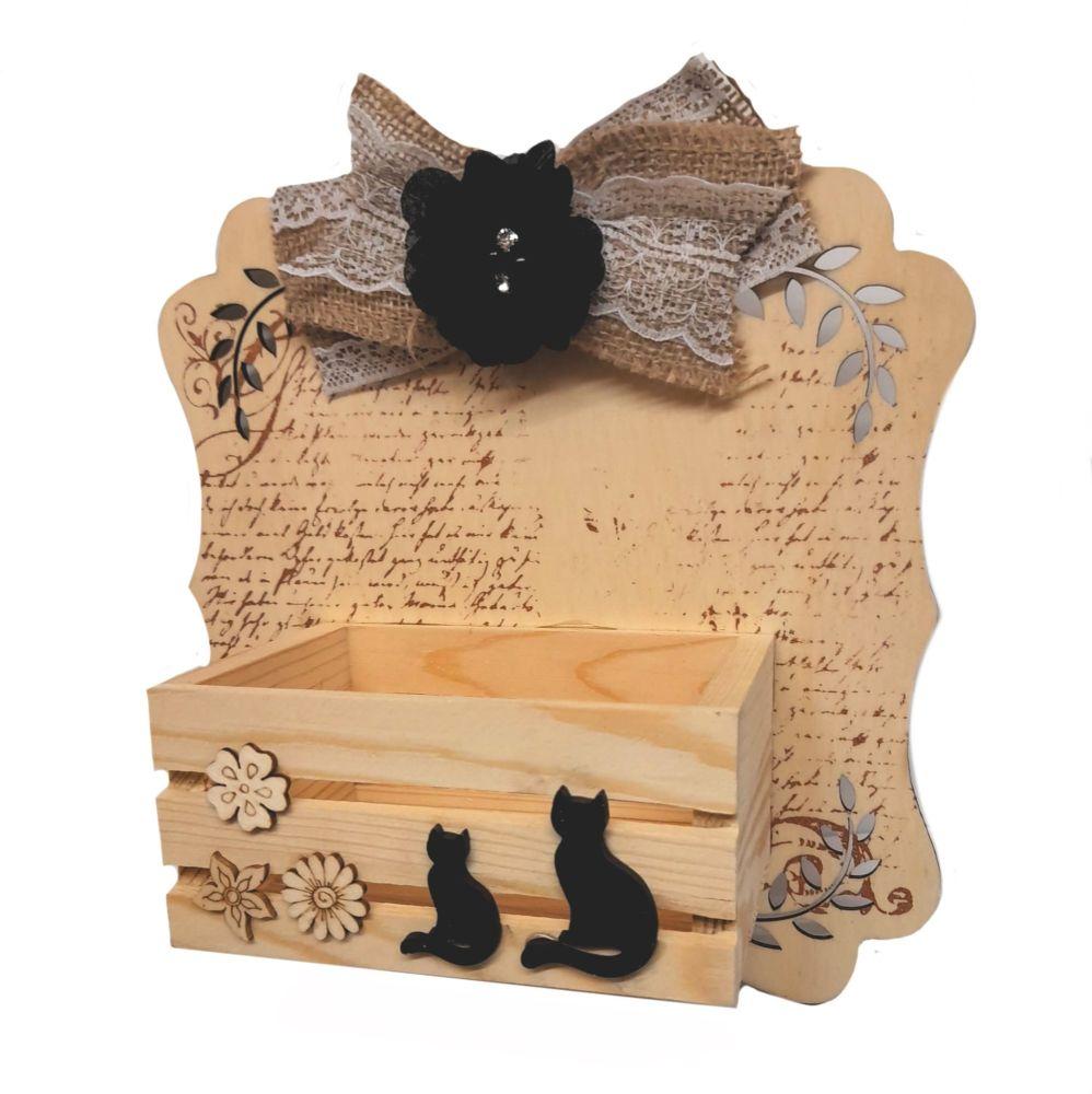 Black Cat Duo Wall Tidy Crate