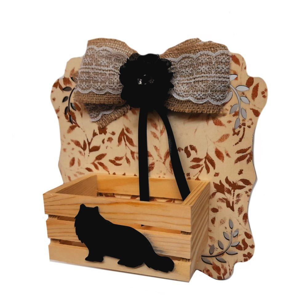 Black Persian Cat Wall Tidy Crate