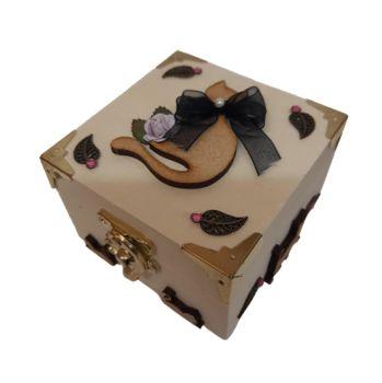 Little Wooden Lilac Rose Trinket Box