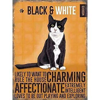 Mini Metal Dangler Metal Sign - Black & White Cat