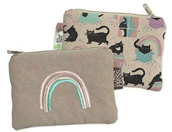 Cat Love - Organic Purse Large - Cat Zip Bag