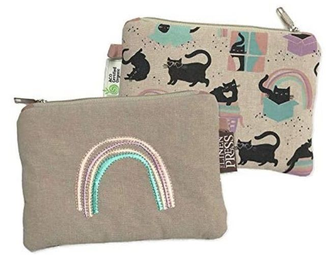 Cat Love - Organic Purse Large - Cat Zip Bag