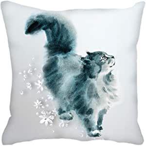 Luxury Velvet Cushion Watercolour Cat
