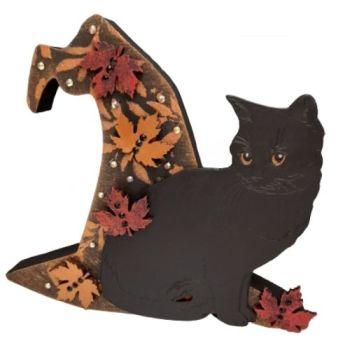 Black Cat & Witches Hat -3D - Freestanding MDF Plaque - Cat & Maple Leaves