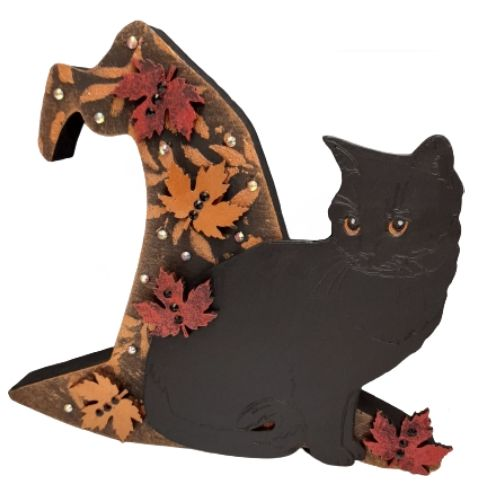 Black Cat & Witches Hat -3D - Freestanding MDF Plaque - Cat & Maple Leaves