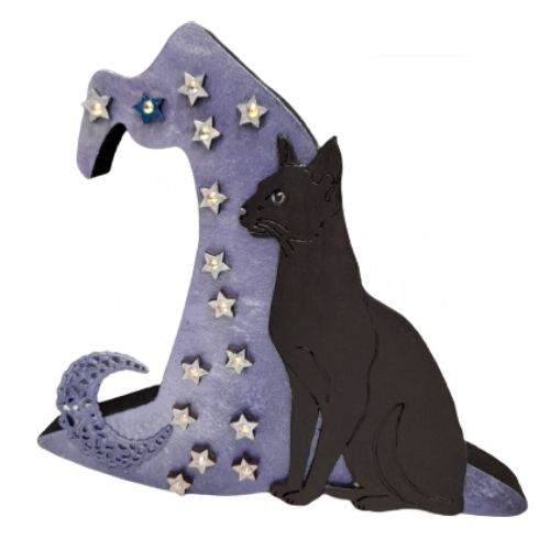 Black Cat & Witches Hat -3D - Freestanding MDF Plaque - Cat & stars