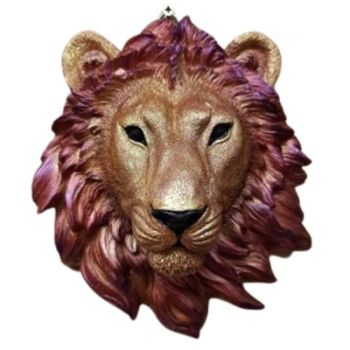 Large Lion Head - Red/Gold/Purple