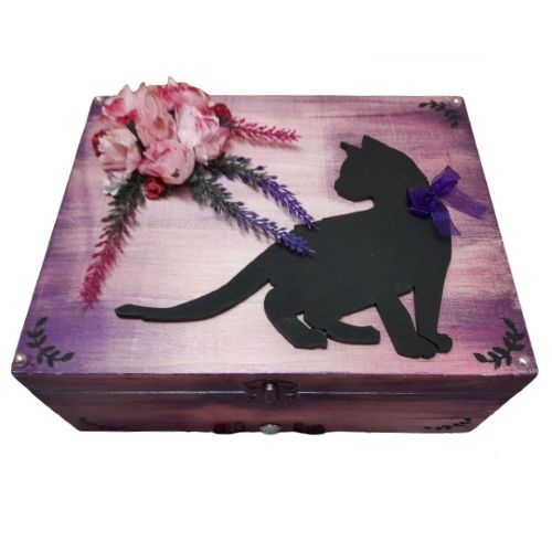 Large Wooden Black Cat Box - Silk Flowers & Moon (Felt Lined)