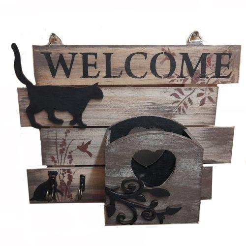Black Cat Key Hook & Tidy Box Wall Mounted