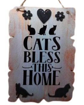 Cats Bless This Home Heart  MDF Sign