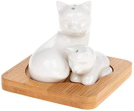 White Cat and Kitten Cruet Set with Bamboo Stand
