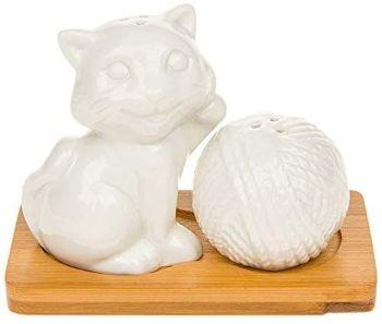 White Bamboo Kitten And Wool Cruet