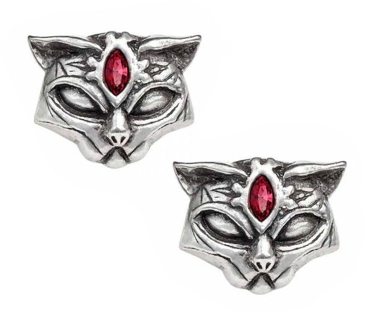 Pewter & Swarovski - Sacred Cat Ear Studs