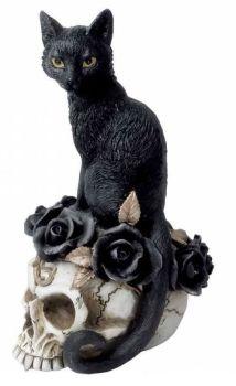 Black Cat On Skull Figurine