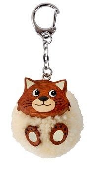 Pom Pom Cat Keyring - Cream